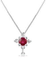 Tagliamonte Incanto Royale Diamond and Ruby Flower 18K Gold Pendant Necklace