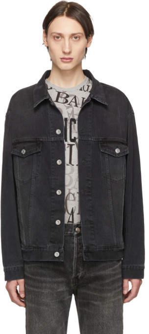 Balenciaga Black Denim Wash Logo Jacket