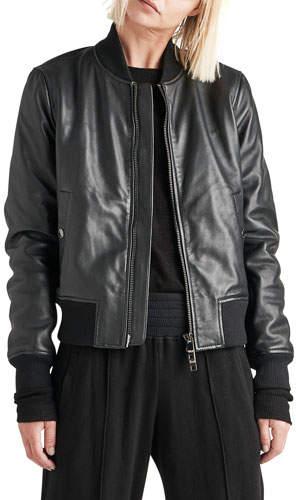 Hudson Zip-Front Leather Bomber Jacket