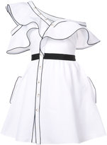 Self-Portrait frill flared dress - women - Silk/Cotton/Polyester - 6