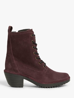 Fly London Webe Suede Lace Up Ankle Boots, Purple
