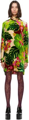 Dries Van Noten Green Velvet Floral Short Dress