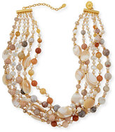 Jose & Maria Barrera Twist Beaded Agate & Druzy Necklace
