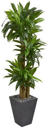 Nearly Natural Cornstalk Dracaena Artificial Plant In Slate Planter