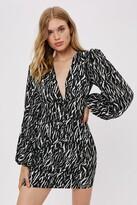 Thumbnail for your product : Nasty Gal Womens Zebra Balloon Sleeve Mini Dress - Black - 10