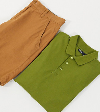 ASOS DESIGN Tall organic muscle fit long sleeve jersey polo in khaki