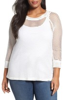 Bobeau Plus Size Women's Raglan Sleeve Mesh Top