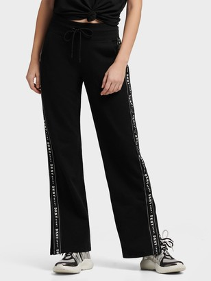 DKNY Side Slit Track Pants With Logo Taping