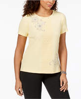 Alfred Dunner Charleston Embellished Lace-Panel T-Shirt