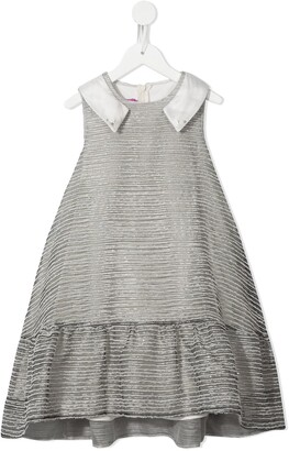Valmax Kids Collar-Detail Flared Dress