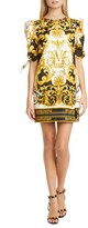 Versace First Line V Barocco Print Tie Sleeve Silk Shift Minidress