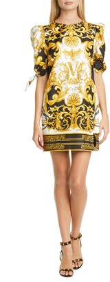 Versace First Line Versace V Barocco Print Tie Sleeve Silk Shift Minidress