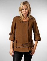 Wool Plush Swing Coat in Camel
