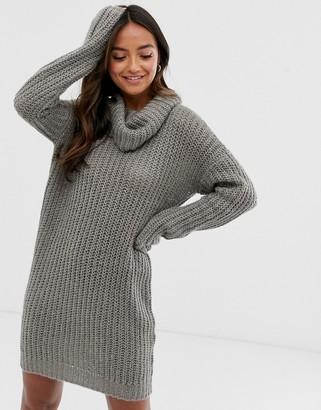 Brave Soul soda cowl neck jumper dress in grey