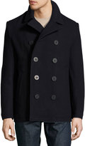Original Penguin Double-Breasted Wool-Blend Pea Coat, Dark Blue