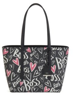 HUGO BOSS Monogram shopper bag with heart motifs and logo artwork