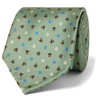 Rubinacci Floral-Print Silk-Twill Tie