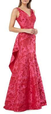 787a97add280 Carmen Marc Valvo Floral Jacquard Ruffle Evening Gown