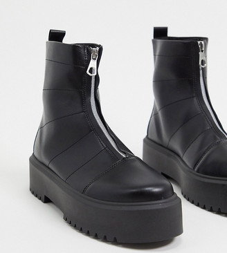 ASOS DESIGN Wide Fit Agent front zip chunky boot