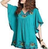 Kafeimali Women's Casual Embroidery Butterfly Sleeve Tops Shirt Tunic Blouse