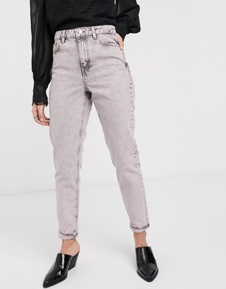 Topshop mom jeans in acid pink wash