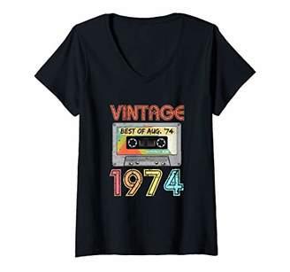 Womens August 1974 45th Birthday Shirt | Vintage 1974 Birthday V-Neck T-Shirt