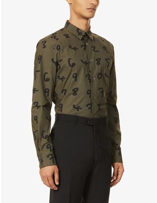Paul Smith Number-print regular-fit cotton-poplin shirt