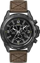 Timex Expedition Men's Quartz Watch with Black Dial Chronograph Display and Brown Leather Strap T49986