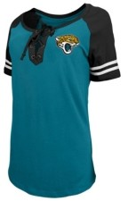 5th & Ocean Jacksonville Jaguars Women's Logo Lace Up T-Shirt