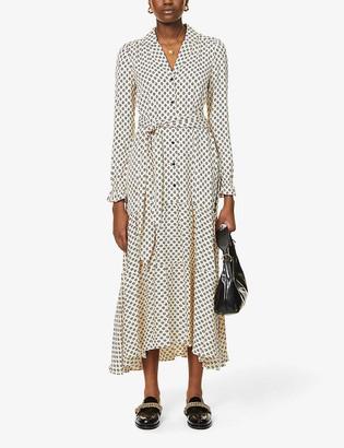 Dot print woven midi shirt dress