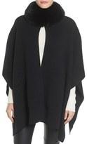 Sofia Cashmere Women's Genuine Fox Fur Collar Cashmere Cape
