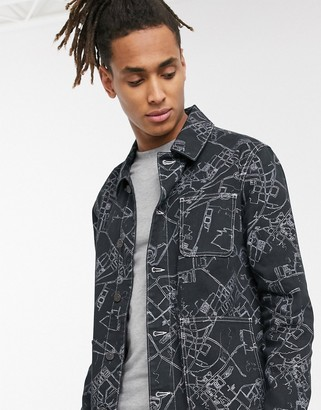 ASOS DESIGN denim jacket in black with all over linear print