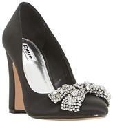 Dune Bambi Block Heeled Embellished Court Shoes, Black
