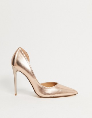 Truffle Collection pointed stiletto heels in rose gold