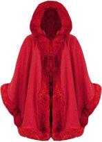 Fashion Box Womens 3⁄4 Sleeves Celebrity Inspired Fur Faux Trim Hooded Cape Poncho Cardigan