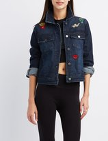 Charlotte Russe Patched Denim Jacket