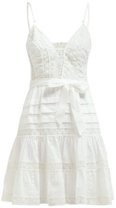 Zimmermann Honour Lace-panel Ruffle Mini Dress - Womens - White