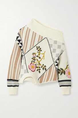 Monse Upside Down Patchwork Embroidered Intarsia Cotton Sweater - Cream