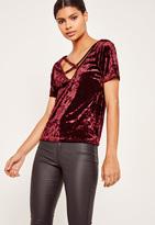 Missguided Crushed Velvet Cross Front T Shirt Burgundy