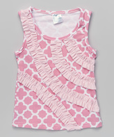 Tutus by Tutu AND Lulu Pink Quatrefoil Ruffle Stripe Tank - Infant & Kids