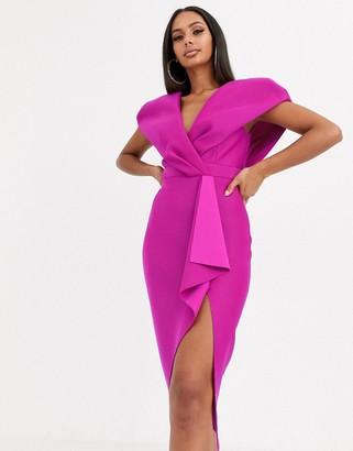 Asos Design DESIGN self stripe cape sleeve midi pencil dress