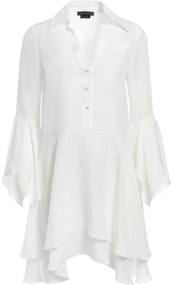 Alice + Olivia Priscilla Bell-Sleeve Handkerchief Shirtdress