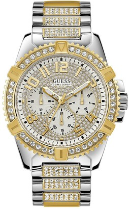 GUESS Frontier Silver and Gold Detail Crystal Set Chronograph Dial Two Tone Pave Stainless Steel Bracelet Mens Watch