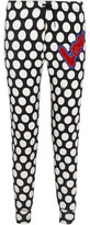 Love Moschino Flocked Polka-Dot Cotton-Blend Fleece Track Pants
