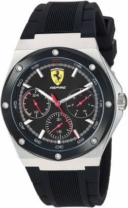 Ferrari Men's Aspire Stainless Steel Quartz Watch with 100 Silicone Strap