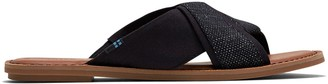 Toms Black Foil Woven Women's Viviana Sandals