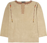 Isabel Marant Marvin oversized embroidered suede top