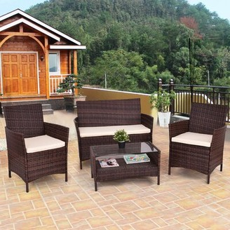 Ebern Designs Miamoon Outdoor Patio 4 Piece Rattan Sofa Seating Group with Cushions