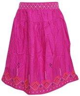 Mogul Interior Womens Boho Skirts Flirty Rayon Embroidered Medieval Mid Length Skirt