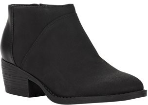 Melrose Ave Vegan Suede and Leather Low Block Heel Bootie (Women's)